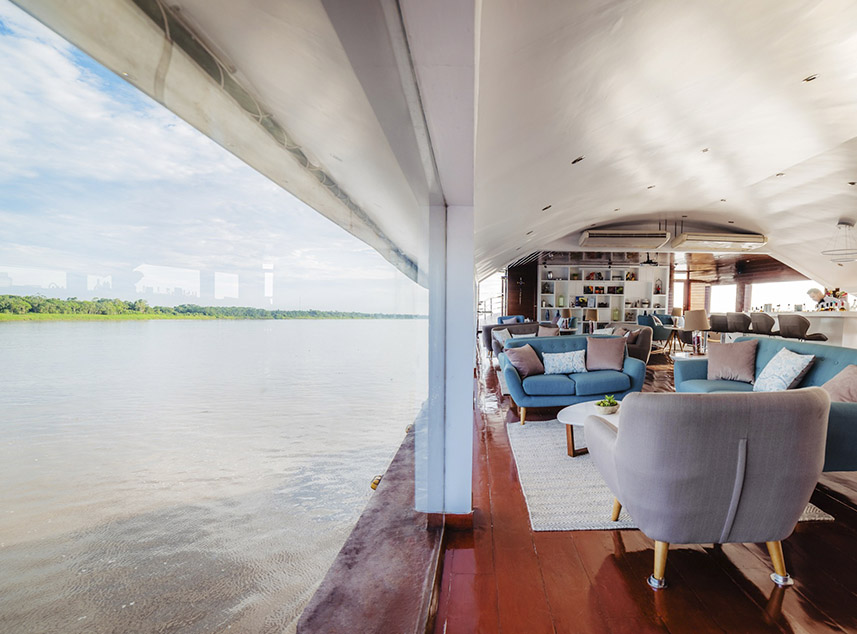 RF Expeditions Amazon Cruise | Living area with panoramic window